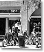 One Sunday On Main Street - Homeless Man - Black And White Metal Print