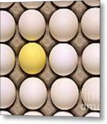 One Yellow Egg With White Eggs Metal Print