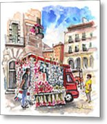 Onion And Garlic Street Seller In Siracusa Metal Print