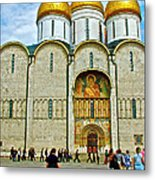 Onion Domes On Cathedral Of The Assumption Inside Kremlin In Moscow-russia Metal Print