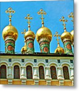Onion Domes On Churches Of The Nativity And Deposition Of The Robe Inside Kreml Metal Print