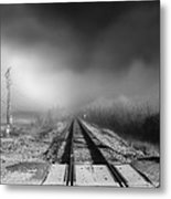 Onward - Railroad Tracks - Fog Metal Print