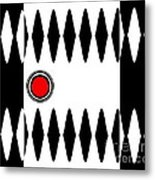 Op Art Black White Red Minimalist Geometric Abstract Print No.277 Metal Print by Drinka Mercep