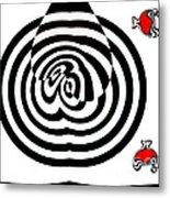 Op Art Geometric Black White Red Abstract No.202. Metal Print by Drinka Mercep