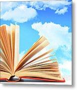 Open Book Against A Blue Sky Metal Print