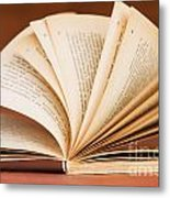 Open Book In Retro Style Metal Print