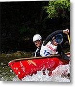Open Canoe Whitewater Race - Panorama Metal Print