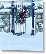 Open Gate In Snow With Wreath Metal Print