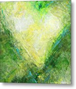 Open Heart Green Abstract Urban Heart Painting Metal Print
