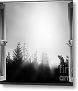 Open Window At Night Bw Metal Print