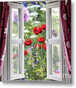 Open Window View Onto Wild Flower Garden Metal Print