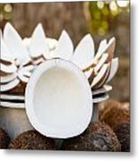 Opened Coconuts On The Market Metal Print