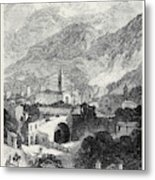 Opening Of The Mont Cenis Tunnel The Town Of Susa 1871 Metal Print