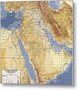 Operation Desert Storm Planning Map  1991 Metal Print