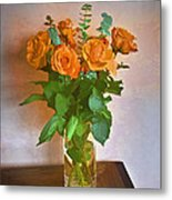 Orange And Green Metal Print by John Hansen