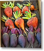 Orange And Purple Beet Vegetables In Wood Box Art Prints Metal Print