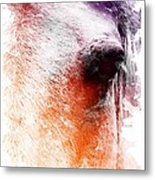 Orange And Violet Abstract Horse Metal Print by Diana Shively