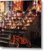 Orange Bicycle By Brownstone Metal Print
