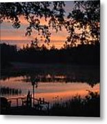 Orange Blue And Black Metal Print