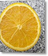 Orange Cut In Half Grey Background Metal Print