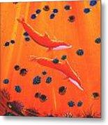 Orange Dolphins Metal Print