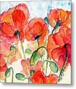 Orange Field Of Poppies Watercolor Metal Print