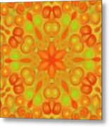Orange Flower Mandela Metal Print