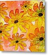 Orange Flowers Galore Digital Art Metal Print