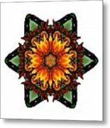 Orange Gazania IIi Flower Mandala White Metal Print