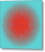 Optical Illusion - Orange On Aqua Metal Print