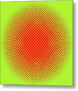 Optical Illusion - Orange On Lime Metal Print