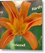 Orange Lily Birthday Metal Print