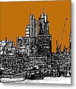 Dark Ink With Bright Orange London Skies Metal Print