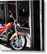 Orange Motorcycle Metal Print