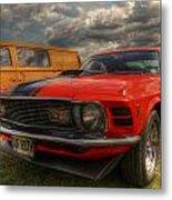 Orange Mustang Metal Print
