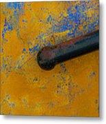Orange On Blue Metal Print