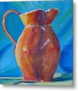 Orange Pitcher Still Life Metal Print