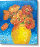Orange Poppies In Yellow Vase Metal Print