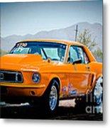 Orange Racing Mustang Metal Print