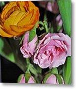 Orange Ranunculus And Pink Roses Metal Print