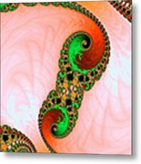 Orange Red And Green Abstract Fractal Art Metal Print