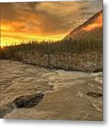 Orange Sunset On Sluice Box Rapids Metal Print