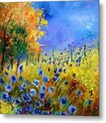 Orange Tree And Blue Cornflowers Metal Print