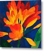 Orange Tropical Flowers Metal Print