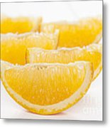 Orange Wedges On White Background Metal Print by Colin and Linda McKie