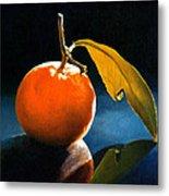 Orange With Leaf Metal Print
