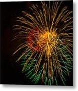 Orange Yellow Green Fireworks Galveston Metal Print