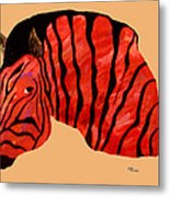 Orange Zebra Metal Print