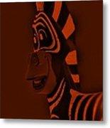 Orange Zebra Metal Print