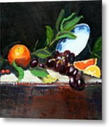 Oranges And Grapes Metal Print